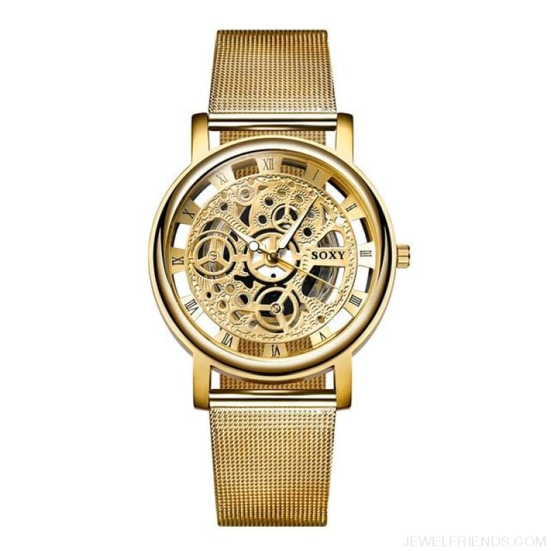 Skeleton Mesh Belt Quartz Watches - Gold - Custom Made | Free Shipping