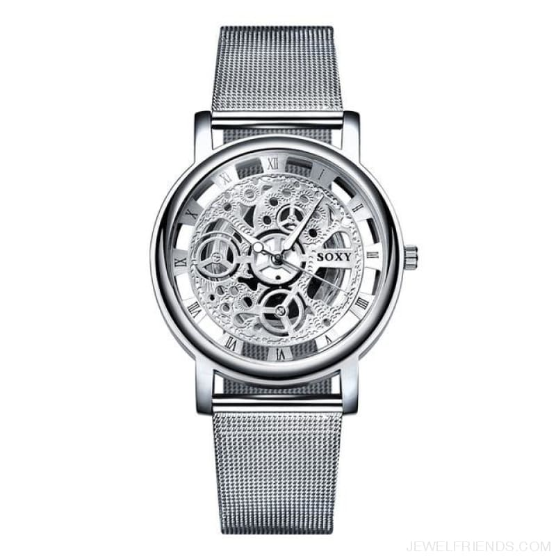 Skeleton Mesh Belt Quartz Watches - Silver - Custom Made | Free Shipping