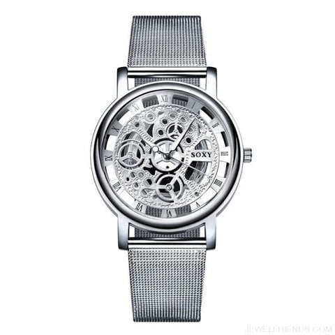 Image of Skeleton Mesh Belt Quartz Watches - Silver - Custom Made | Free Shipping