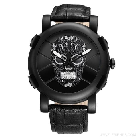 Skeleton Skull Quartz Waterproof Leather Sports Watch - Black - Custom Made | Free Shipping