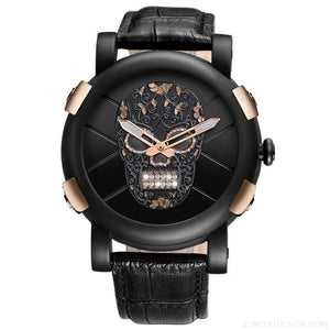 Skeleton Skull Quartz Waterproof Leather Sports Watch - Black Rose Gold - Custom Made | Free Shipping