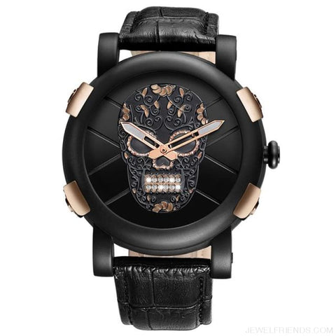 Image of Skeleton Skull Quartz Waterproof Leather Sports Watch - Black Rose Gold - Custom Made | Free Shipping