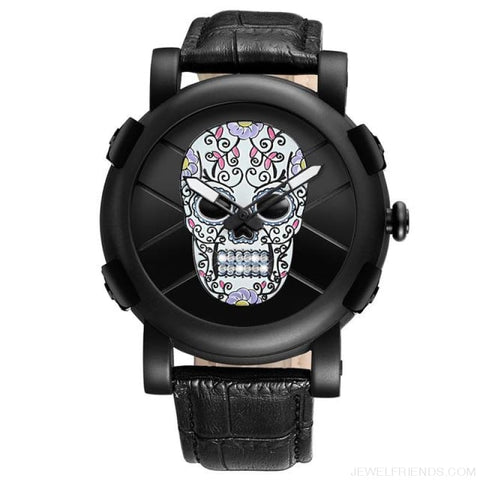 Image of Skeleton Skull Quartz Waterproof Leather Sports Watch - Colorful - Custom Made | Free Shipping