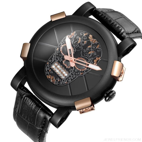 Skeleton Skull Quartz Waterproof Leather Sports Watch - Custom Made | Free Shipping