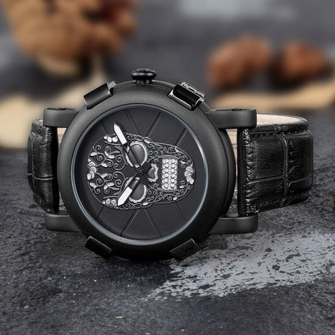 Image of Skeleton Skull Quartz Waterproof Leather Sports Watch - Custom Made | Free Shipping