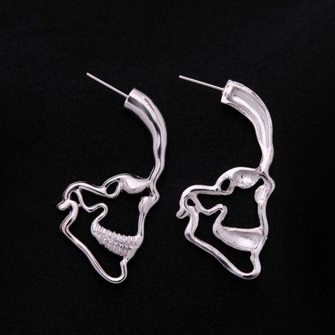 Skull Silhoutte Stud Earrings - Custom Made | Free Shipping