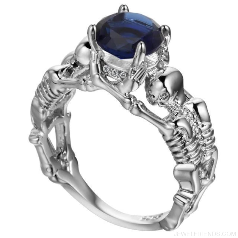 Skull Skeleton Cubic Zirconia Ring - 10 / Blue Silver - Custom Made | Free Shipping