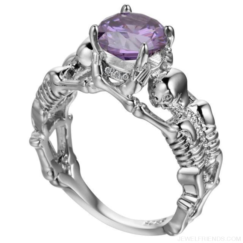 Skull Skeleton Cubic Zirconia Ring - 10 / Purple Silver - Custom Made | Free Shipping