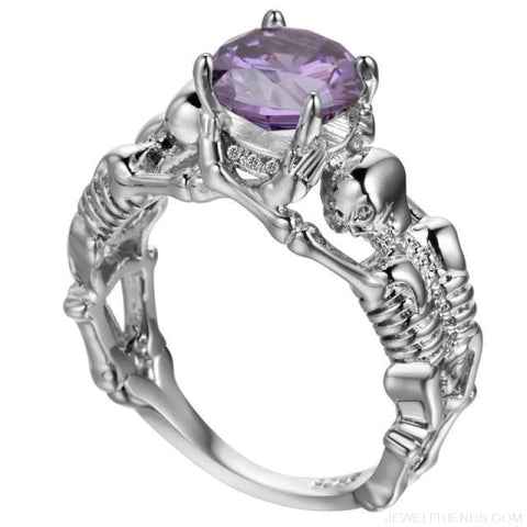 Image of Skull Skeleton Cubic Zirconia Ring - 10 / Purple Silver - Custom Made | Free Shipping