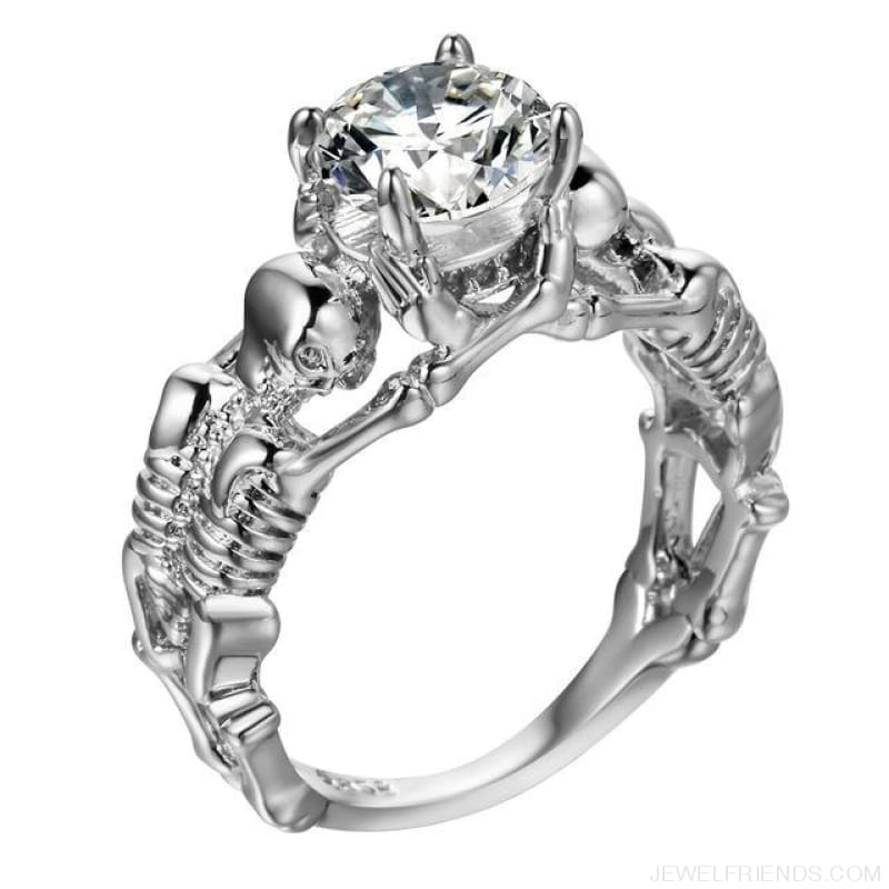 Skull Skeleton Cubic Zirconia Ring - 10 / White Stone Silver - Custom Made | Free Shipping