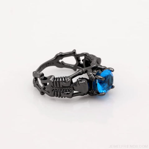 Image of Skull Skeleton Cubic Zirconia Ring - Custom Made | Free Shipping