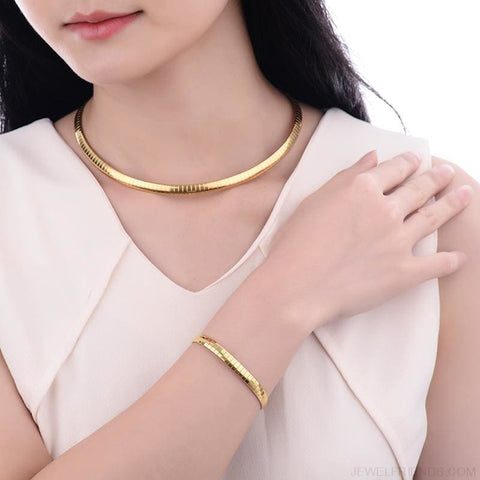 Image of Snake Chain Gold Color Choker Necklace And Bracelet Jewelry Sets - Custom Made | Free Shipping