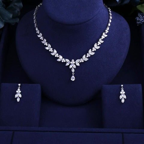 Image of Sparking Brilliant Cubic Zircon Clear Necklace Earrings - Custom Made | Free Shipping