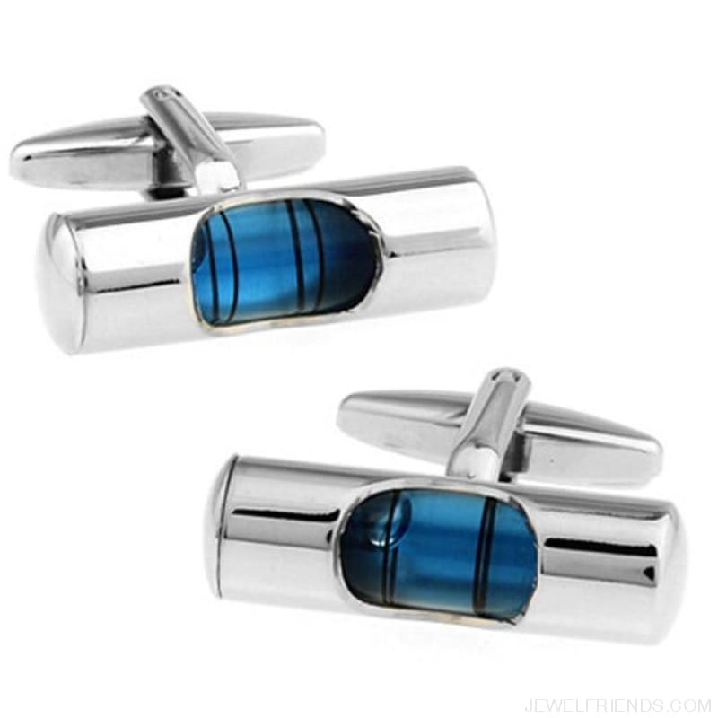 Spirit Level Cufflinks - Blue Level Instrumen - Custom Made | Free Shipping