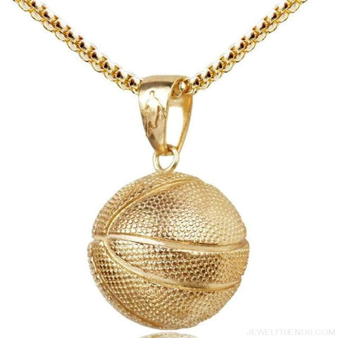 Image of Sport Basketball Pendant Necklace - Gold Basketball - Custom Made | Free Shipping