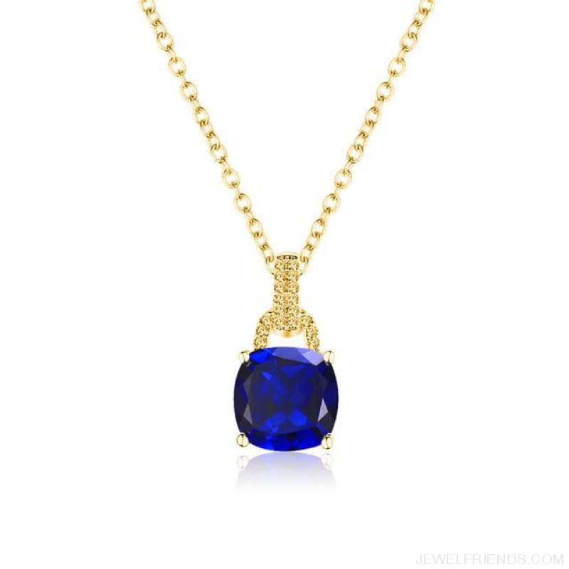Square Colorful Zirconia & White Gold Color Chain Necklace - 2Dk120 - Custom Made | Free Shipping