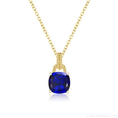 Image of Square Colorful Zirconia & White Gold Color Chain Necklace - 2Dk120 - Custom Made | Free Shipping
