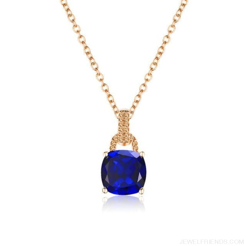Square Colorful Zirconia & White Gold Color Chain Necklace - 2Dm120 - Custom Made | Free Shipping