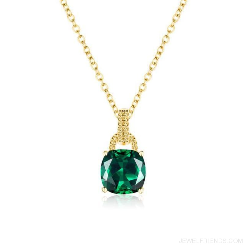 Square Colorful Zirconia & White Gold Color Chain Necklace - 3Dk120 - Custom Made | Free Shipping