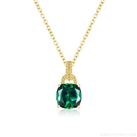 Image of Square Colorful Zirconia & White Gold Color Chain Necklace - 3Dk120 - Custom Made | Free Shipping