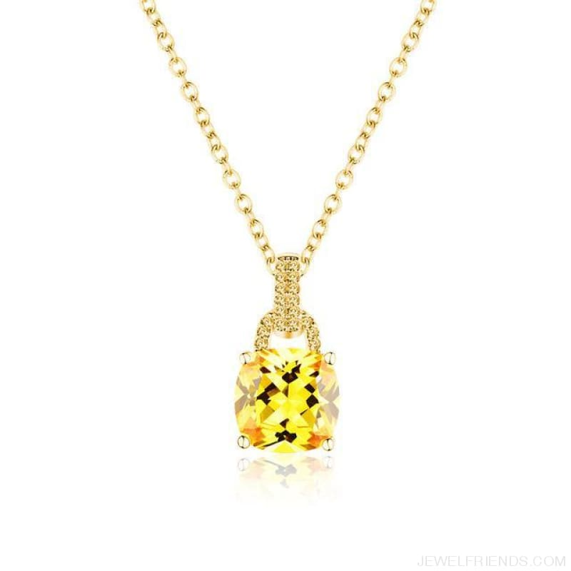 Square Colorful Zirconia & White Gold Color Chain Necklace - 4Dk120 - Custom Made | Free Shipping
