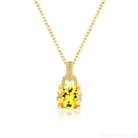 Image of Square Colorful Zirconia & White Gold Color Chain Necklace - 4Dk120 - Custom Made | Free Shipping