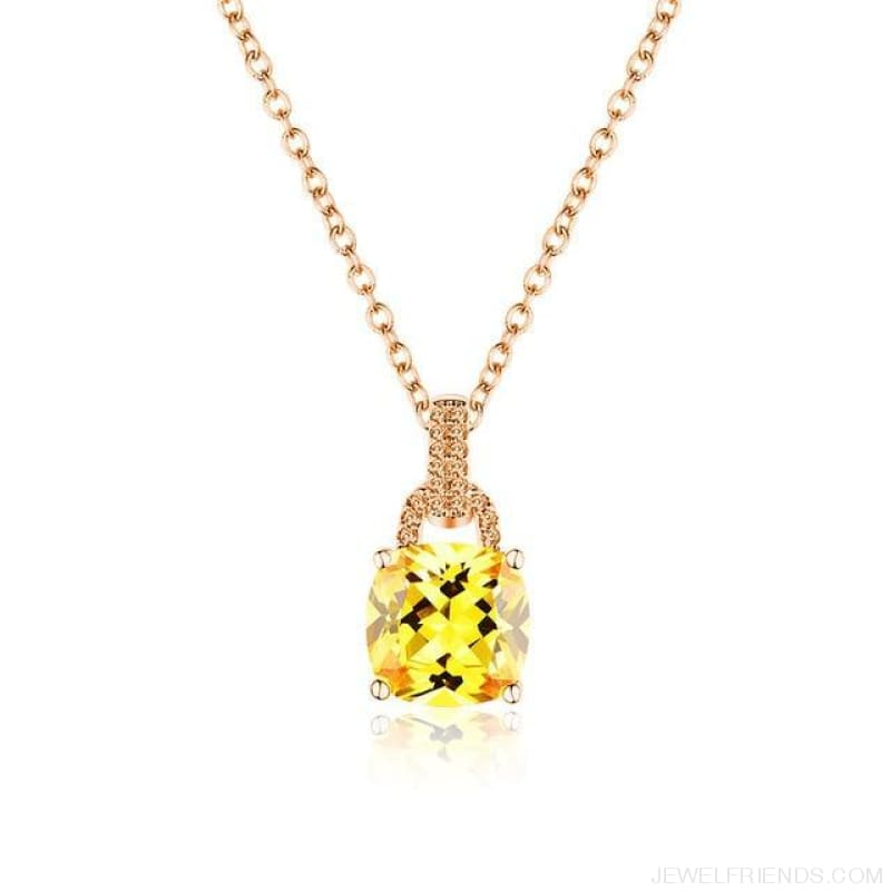 Square Colorful Zirconia & White Gold Color Chain Necklace - 4Dm120 - Custom Made | Free Shipping