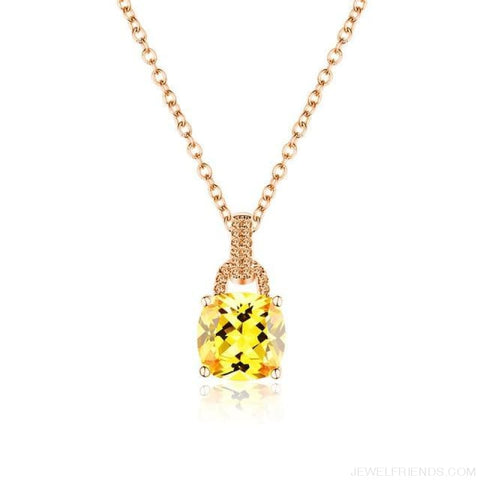 Image of Square Colorful Zirconia & White Gold Color Chain Necklace - 4Dm120 - Custom Made | Free Shipping