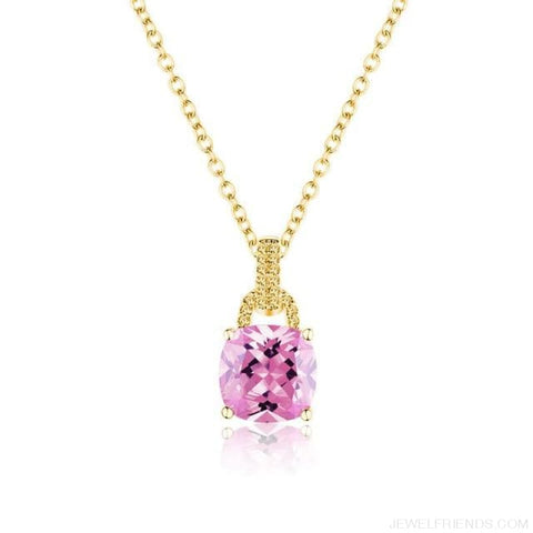 Image of Square Colorful Zirconia & White Gold Color Chain Necklace - 5Dk120 - Custom Made | Free Shipping