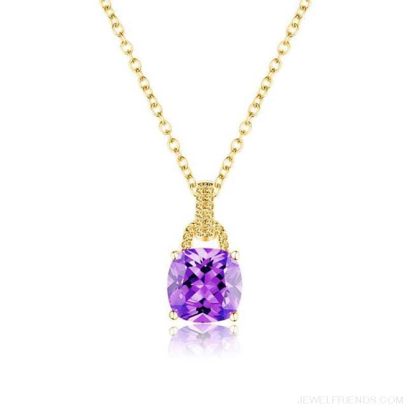 Square Colorful Zirconia & White Gold Color Chain Necklace - 6Dk120 - Custom Made | Free Shipping
