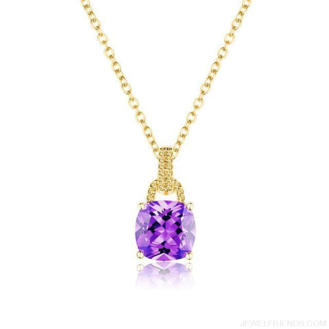 Image of Square Colorful Zirconia & White Gold Color Chain Necklace - 6Dk120 - Custom Made | Free Shipping