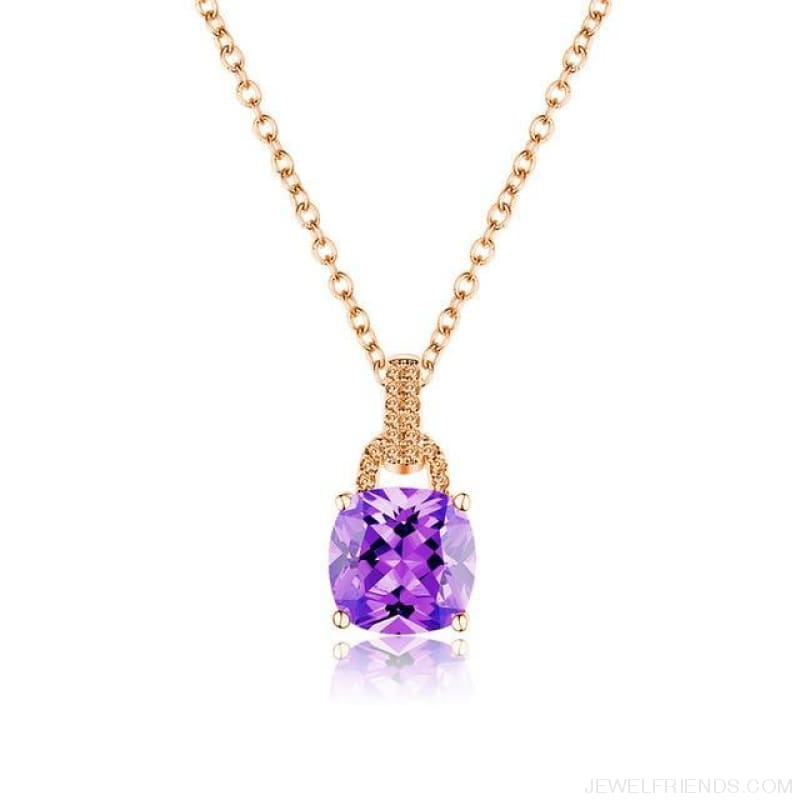 Square Colorful Zirconia & White Gold Color Chain Necklace - 6Dm120 - Custom Made | Free Shipping