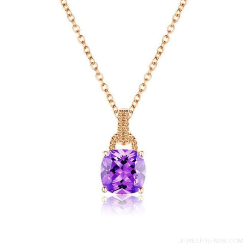 Image of Square Colorful Zirconia & White Gold Color Chain Necklace - 6Dm120 - Custom Made | Free Shipping