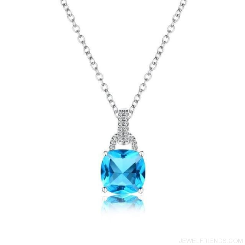 Square Colorful Zirconia & White Gold Color Chain Necklace - Blue - Custom Made | Free Shipping