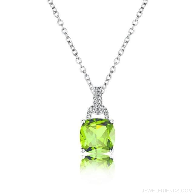 Square Colorful Zirconia & White Gold Color Chain Necklace - Grass Green - Custom Made | Free Shipping