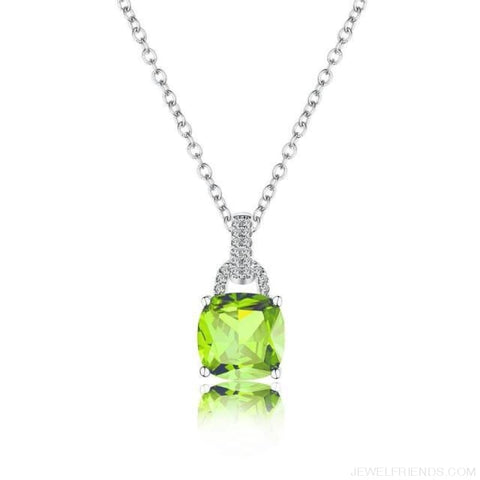 Image of Square Colorful Zirconia & White Gold Color Chain Necklace - Grass Green - Custom Made | Free Shipping