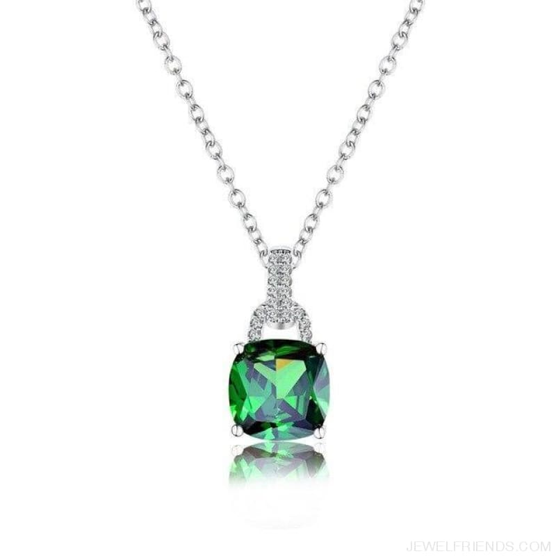 Square Colorful Zirconia & White Gold Color Chain Necklace - Green - Custom Made | Free Shipping