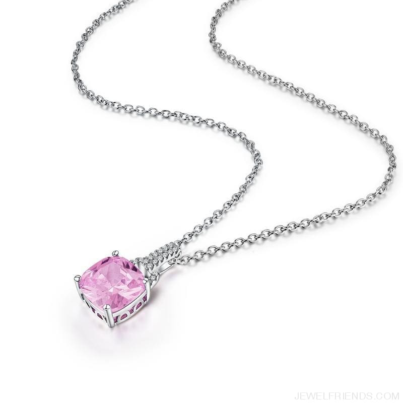 Square Colorful Zirconia & White Gold Color Chain Necklace - Custom Made | Free Shipping