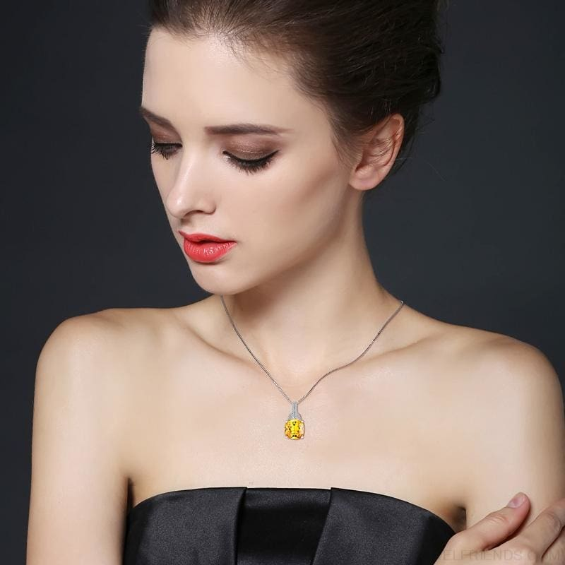 Square Colorful Zirconia & White Gold Color Chain Necklace - Colorful - Custom Made | Free Shipping