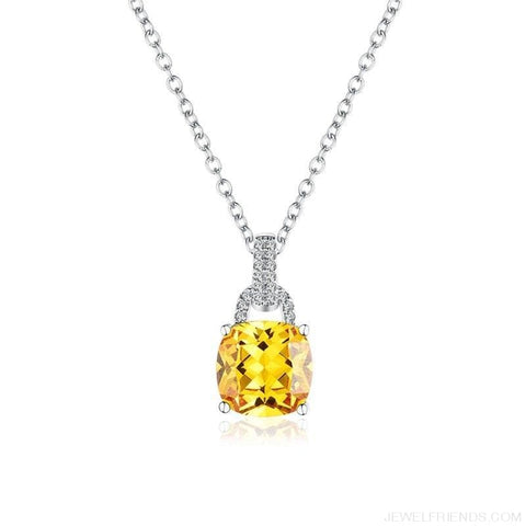 Image of Square Colorful Zirconia & White Gold Color Chain Necklace - Custom Made | Free Shipping
