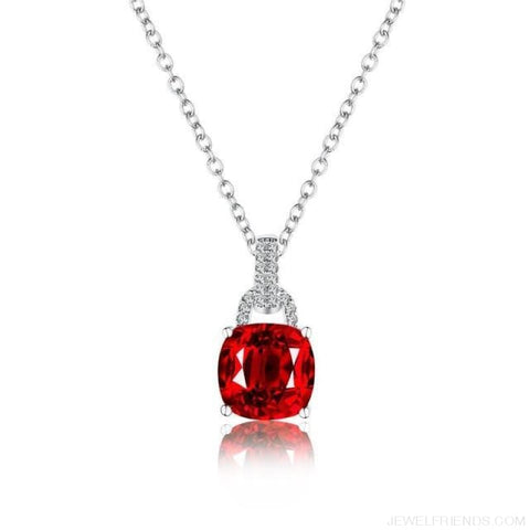 Image of Square Colorful Zirconia & White Gold Color Chain Necklace - Red - Custom Made | Free Shipping