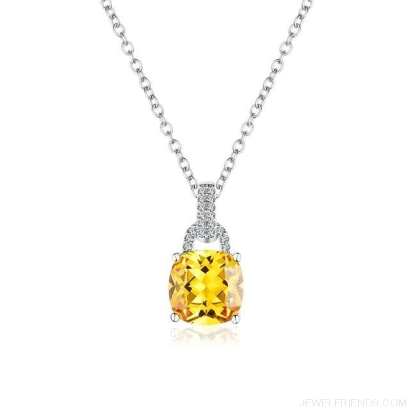 Square Colorful Zirconia & White Gold Color Chain Necklace - Yellow - Custom Made | Free Shipping