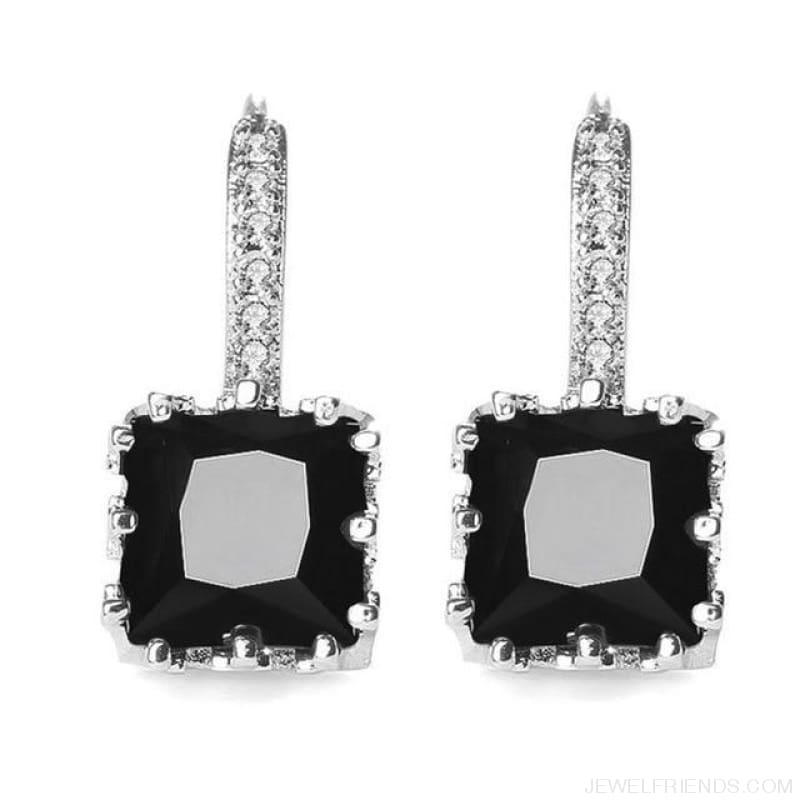 Square Cubic Zirconia Hoop Earrings - Black - Custom Made | Free Shipping