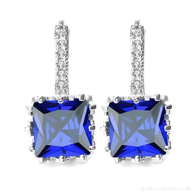 Square Cubic Zirconia Hoop Earrings - Blue - Custom Made | Free Shipping