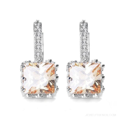 Image of Square Cubic Zirconia Hoop Earrings - Champagne - Custom Made | Free Shipping