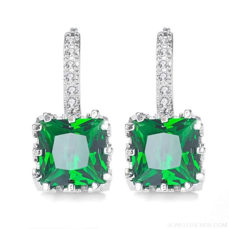 Square Cubic Zirconia Hoop Earrings - Green - Custom Made | Free Shipping