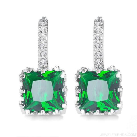 Image of Square Cubic Zirconia Hoop Earrings - Green - Custom Made | Free Shipping
