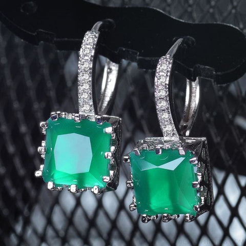 Image of Square Cubic Zirconia Hoop Earrings - Custom Made | Free Shipping