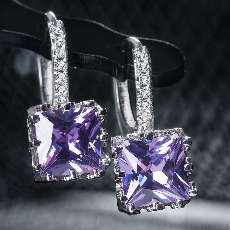 Square Cubic Zirconia Hoop Earrings - Custom Made | Free Shipping