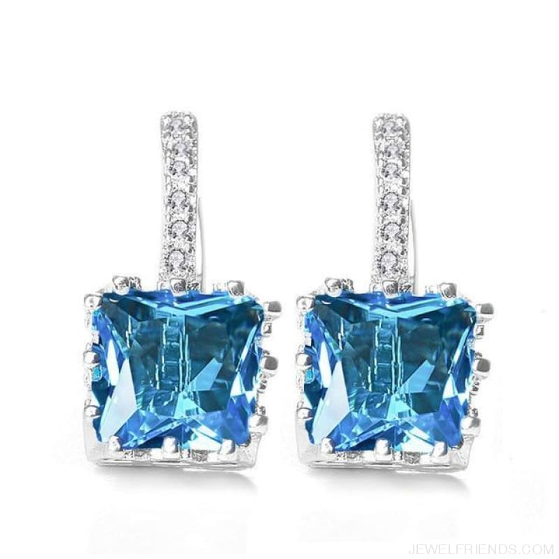 Square Cubic Zirconia Hoop Earrings - Lake Blue - Custom Made | Free Shipping